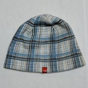 The North Face blue plaid reversible knit …